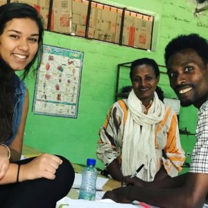 Jessica Bachansingh (left) spent time in Ethiopia over the summer teaching the sewing curriculum to students and teachers involved in Girls for Confidence.