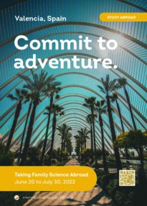 Valencia study abroad program brochure featuring palm trees in Spain