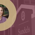 Jennifer Steiner headshot in front of sign for Sandels Building