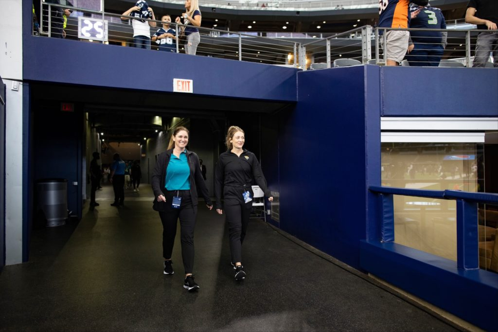 Jackie Trance walking out of the player tunnel